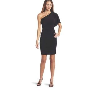 Calvin Klein Black One Shoulder Flutter Dress